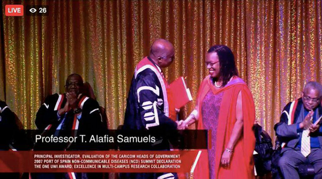 Professor Alafia Samuels Principal Investigator, The George Alleyne Chronic Disease Research Centre, Cave Hill Campus collected the award